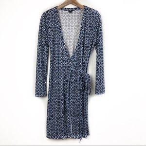 Ann Taylor Blue Floral Wrap Dress Size 8